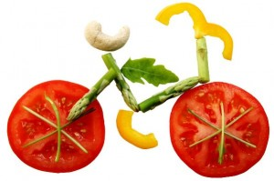 Sliced vegetables in form of a bicycle; Shutterstock ID 14109184; PO: aol; Job: production; Client: drone